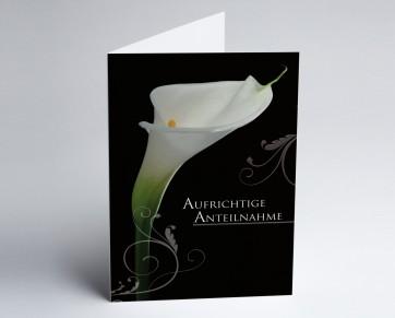Trauerkarte 150885-112 Calla: Aufrichtige Anteilnahme.