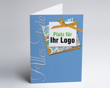 Logo-Grusskarte 150902-101 alles Gute, blau