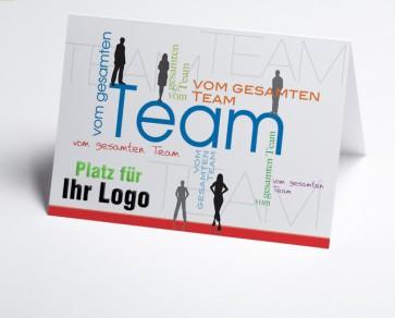Logo-Grusskarte 150916-112 vom gesamten Team, Silhouetten.