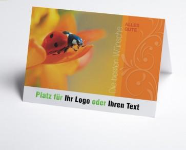 Logo-Grusskarte 150931-112 Marienkäfer auf Blüte.