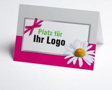 Logo-Grusskarte 150945-108 Margerite, pink/grau