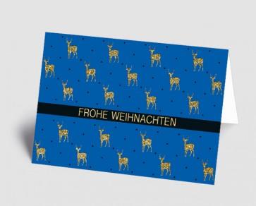 Weihnachtskarte 1518335 Hirsche blau-gold