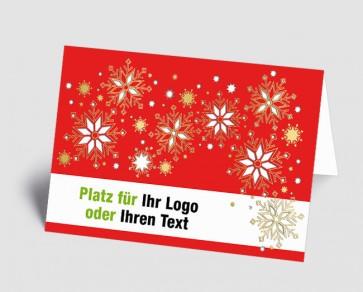 Logo-Weihnachtskarte 1518401 Eiskristalle, rot
