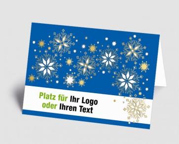 Logo-Weihnachtskarte 1518402 Eiskristalle, blau
