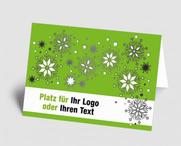 Logo-Weihnachtskarte 1518403 Eiskristalle, grün