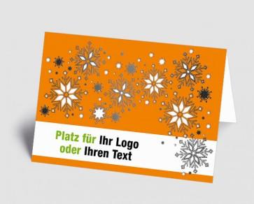 Logo-Weihnachtskarte 1518404 Eiskristalle, orange