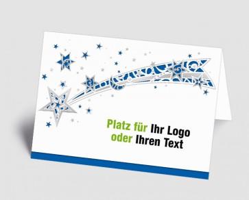 Logo-Weihnachtskarte 1518412 Sternschnuppe, blau