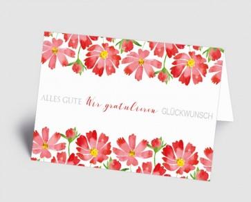Grusskarte 1519103 Rote Blumen in Aquarell
