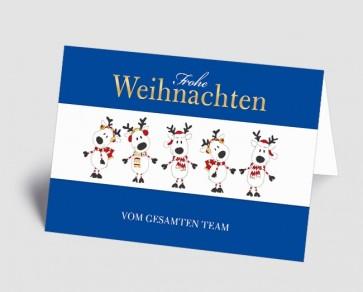 Weihnachtskarte 1519307 Teamkarte blau lustige Elche