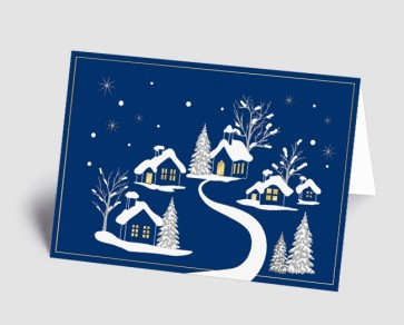Weihnachtskarte 1519315 verschneites Dorf blau