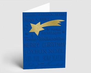 Weihnachtskarte 1519318 Sternschnuppe und internationaler Text, blau