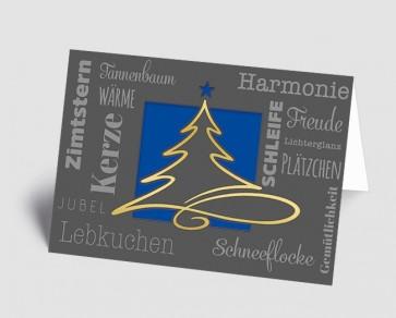 Weihnachtskarte 1519323 moderne Typografie und Schwungbaum, blau