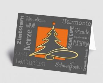Weihnachtskarte 1519324 moderne Typografie und Schwungbaum, orange