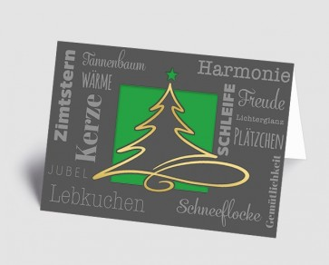 Weihnachtskarte 1519325 moderne Typografie und Schwungbaum, grün