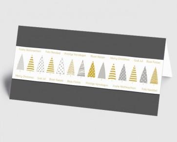 Weihnachtskarte 1519327 grafische Bäume und internationaler Text, grau