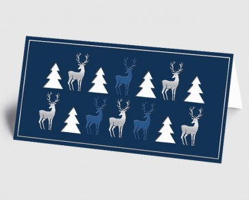 Weihnachtskarte 1519331 moderne Elemente Hirsch und Baum, blau-weiß
