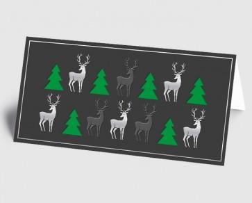 Weihnachtskarte 1519333 moderne Elemente Hirsch und Baum, grau-grün