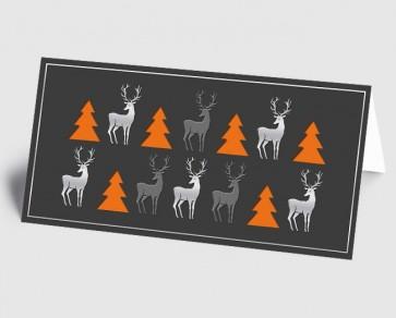 Weihnachtskarte 1519334 moderne Elemente Hirsch und Baum, grau-orange