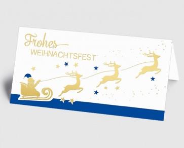 Weihnachtskarte 1519335 Weihnachtsmann mit Rentierschlitten, blau