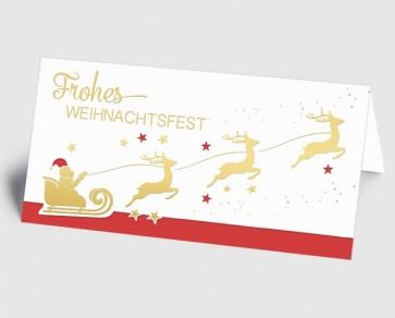 Weihnachtskarte 1519336 Weihnachtsmann mit Rentierschlitten, rot