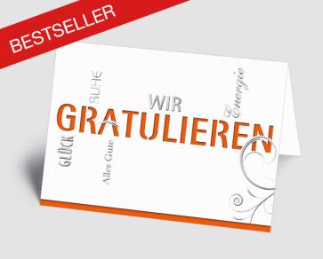 Grusskarte 1520101 Typo-Art orange