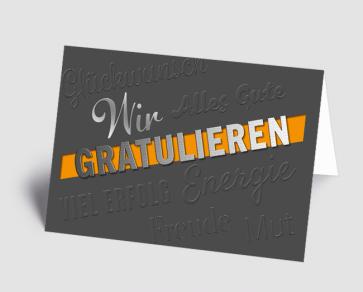 Grusskarte 1520105 Wir gratulieren grau-orange