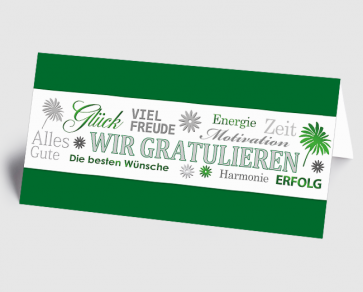 Grusskarte 1520121 Wir gratulieren grün