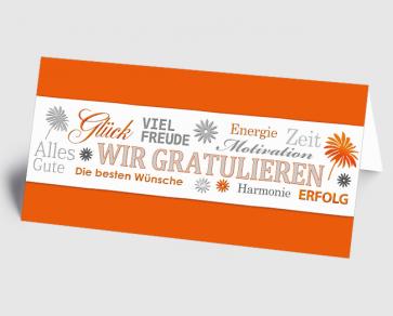 Grusskarte 1520122 Wir gratulieren orange