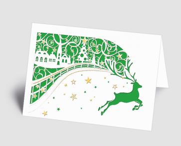 Weihnachtskarte 1520308 filigranes Dorf mit Hirsch grün