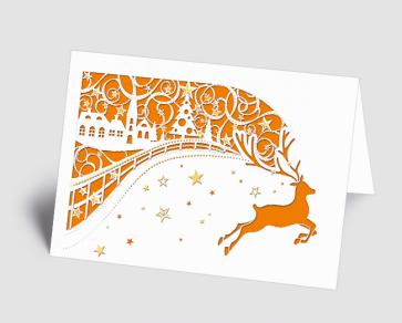 Weihnachtskarte 1520309 filigranes Dorf mit Hirsch orange