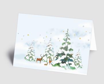 Weihnachtskarte 1520310 Rehe im Winterwald