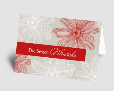 Grusskarte 1521105-100 florales Design rot