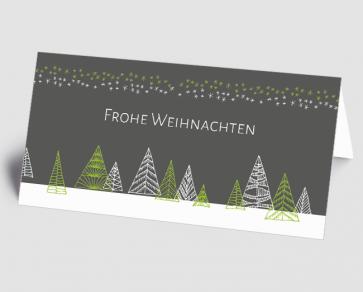 Weihnachtskarte 1521314-102 grafischer Winterwald, grau-grün
