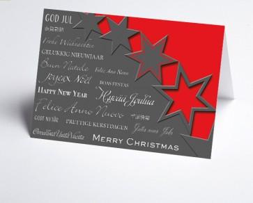 Weihnachtskarte 156504-100 Sterne rot