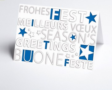 Weihnachtskarte 156508-101 Frohes Fest blau