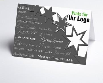 Logo-Weihnachtskarte 156518-112 Sterne weiß