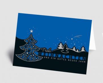 Weihnachtskarte 157501-101 filigraner Baum schwarz-blau