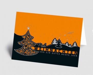 Weihnachtskarte 157501-103 filigraner Baum schwarz-orange
