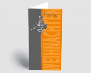 Weihnachtskarte 157502-112 Baum grau-orange
