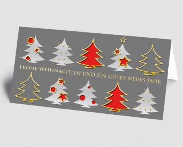 Weihnachtskarte 157507-100 Bäume grau-rot