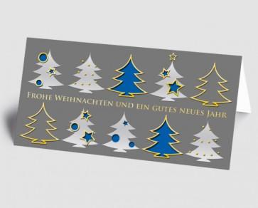 Weihnachtskarte 157507-101 Bäume grau-blau