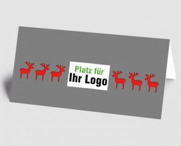 Logo-Weihnachtskarte 157511-100 Elch grau-rot