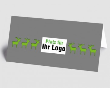 Logo-Weihnachtskarte 157511-102 Elch grau-grün