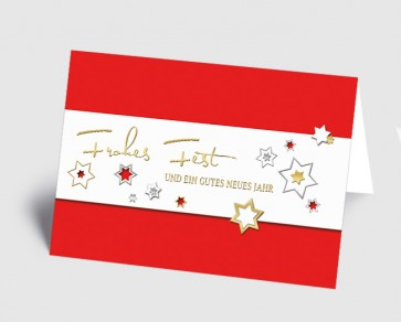 Weihnachtskarte 157519-100 Sternenzauber rot
