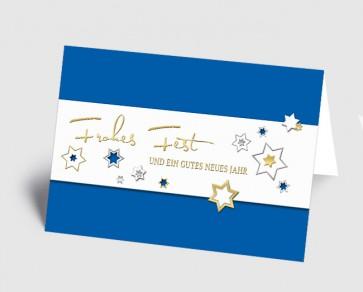 Weihnachtskarte 157519-101 Sternenzauber blau