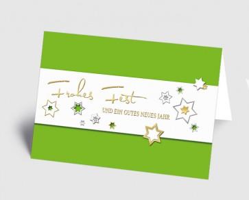 Weihnachtskarte 157519-102 Sternenzauber grün