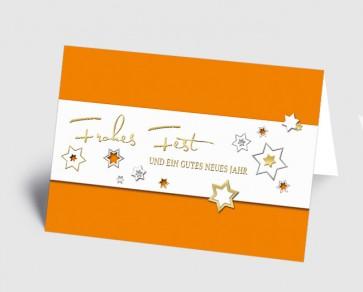 Weihnachtskarte 157519-103 Sternenzauber orange