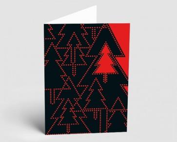 Weihnachtskarte 157522-100 Bäume schwarz-rot