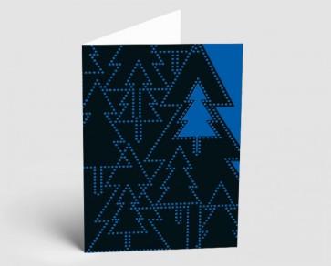 Weihnachtskarte 157522-101 Bäume schwarz-blau