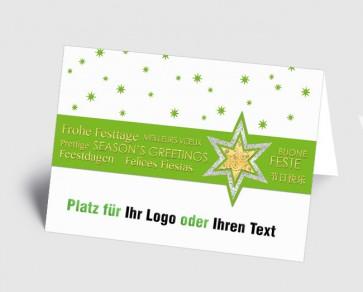 Logo-Weihnachtskarte 157525-102 international, Sterne grün